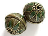 Large Brass & Green Enamel Bead 28mm (MB12)