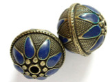 Large Brass & Blue Enamel Bead 28mm (MB13)