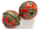Large Brass & Red Enamel Bead 28mm (MB15)