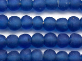 Dark Blue Recycled Glass Beads 14-16mm - Africa (RG460)