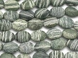 Green Silver Line Jasper Oval Tabular Gemstone Beads 20mm (GS2362)