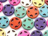 Multi-Color Howlite Western Star Gemstone Beads 20mm (GS2447)