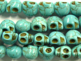 Turquoise Magnesite Skull Gemstone Beads 15mm (GS2453)
