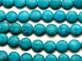Turquoise Howlite Round Tabular Gemstone Beads 15mm (GS2458)