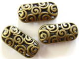 Brass Pewter Bead - Spiral Cutout Oval 22mm (PB263)