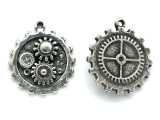 Gear Inner-Workings Steampunk Pewter Pendant (PW609)