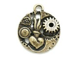 Brass Flaming Heart Inner-Workings - Steampunk Pewter Pendant  25mm (PW610)