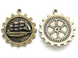 Brass Gear Bezel w/ Ship - Steampunk Pewter Pendant 38mm (PW616)