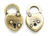Brass Heart Lock - Steampunk Pewter Pendant 26mm (PW620)