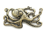 Brass Giant Octopus - Steampunk Pewter Pendant 42mm (PW621)