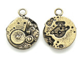 Brass Inside Watch - Steampunk Pewter Pendant 18mm (PW622)