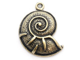 Brass Snail Shell - Steampunk Pewter Pendant 26mm (PW626)