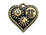 Brass Heart w/ Sun & Gears - Steampunk Pewter Pendant 30mm (PW628)