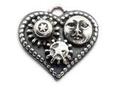Heart w/Sun & Gears Steampunk Pewter Pendant (PW635)