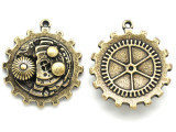 Brass Gear Bezel Inner-Workings - Steampunk Pewter Pendant 34mm (PW642)