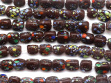 Brown Speckled Triangular Glass Beads 9-10mm (JV675)