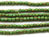 Green Graduated Striped Glass Beads 4-8mm (JV629)