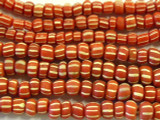 Red & White Graduated Glass Beads 4-6mm (JV633)
