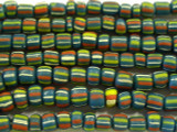 Teal w/Stripes Graduated Glass Beads 4-8mm (JV638)
