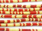 Red & Yellow Glass Snake Trade Beads 6mm (AT71)