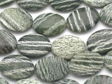Green Silver Line Jasper Oval Tabular Gemstone Beads 28mm (GS2514)