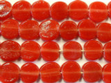 Cherry Red Round Tabular Recycled Glass Beads 14mm - Indonesia (RG498)