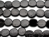 Black Round Tabular Recycled Glass Beads 15mm - Indonesia (RG505)