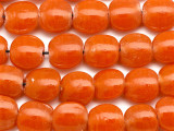 Orange Round Tabular Recycled Glass Beads 18mm - Indonesia (RG509)