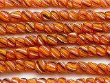 Dark Orange Striped Glass Beads 5-8mm (JV747)