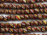 Brown Striped Glass Beads 5-9mm (JV749)
