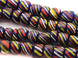 Dark Blue Striped Glass Beads 6-9mm (JV750)