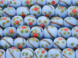 Periwinkle w/Flowers Glass Beads 9-10mm (JV698)