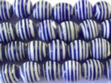 Navy Blue w/Stripes Glass Beads 11-12mm (JV709)