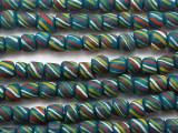 Teal Striped Glass Beads 5-8mm (JV756)