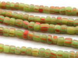 Lime Green Striped Graduated Glass Beads 3-7mm (JV760)