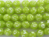 Lime Yellow Glass Beads 9-11mm (JV714)