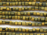 Yellow & Black Glass Beads 5-7mm (JV721)