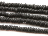 Matte Black Chip Disc Glass Beads 4-6mm (JV775)