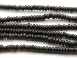 Black Rondelle Glass Beads 5-7mm (JV730)