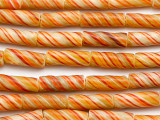 Orange Striped Glass Cylinder Beads 21-23mm (JV790)