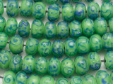 Lime Green w/Blue Lampwork Glass Beads 12mm (LW1008)