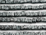 Snowflake Obsidian Cube Gemstone Beads 5-6mm (GS169)