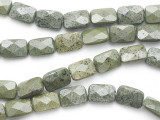 Russian Serpentine Rectangular Faceted Tabular Gemstone Beads 14mm (GS277)