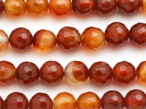 Carnelian Faceted Round Gemstone Beads 8mm (GS114)
