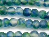 Blue & Green Recycled Glass Beads 13-15mm - Africa (RG16)