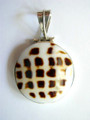 Tiger Shell & Sterling Silver Pendant 23-25mm (AP614)