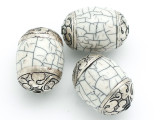 Shell, Resin & Silver Tibetan Bead 30-34mm (TB113)