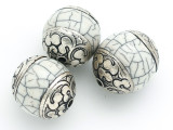 Shell, Resin & Silver Tibetan Bead 24-30mm (TB112)