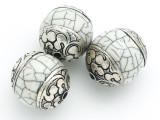 Shell, Resin & Silver Tibetan Bead 24-30mm (TB112)