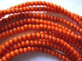 Orange White Heart Trade Beads 4mm (AT3768)